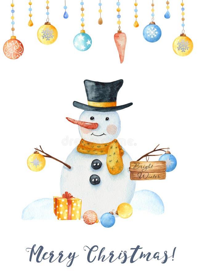 Карта со снеговиком, снежинки зимы акварели, игрушки рождества, сугробы иллюстрация вектора