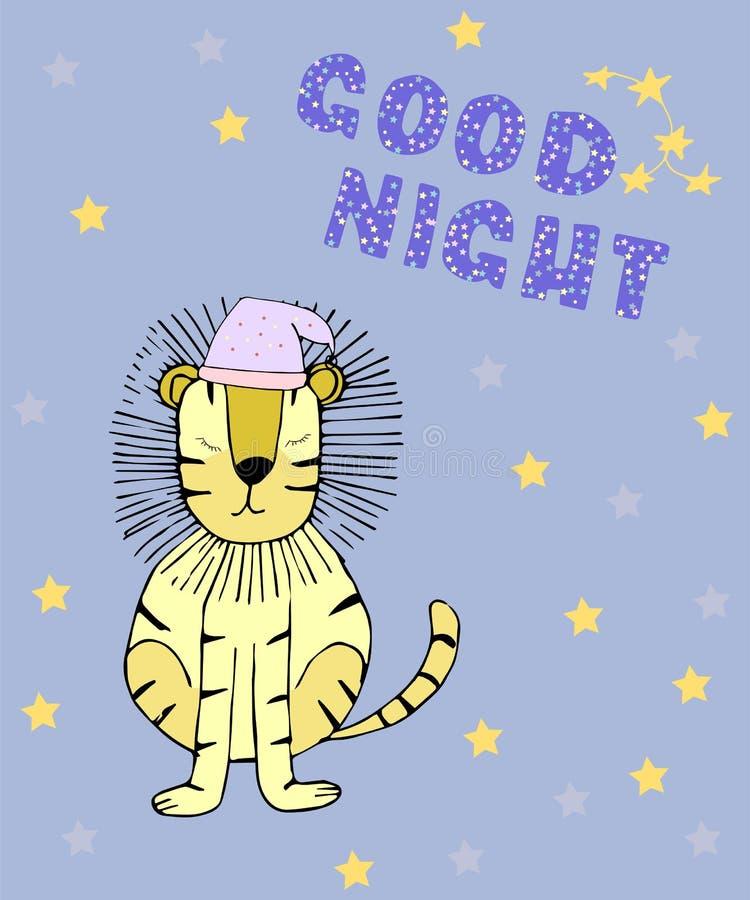 Карта спокойной ночи с львом спать иллюстрация штока