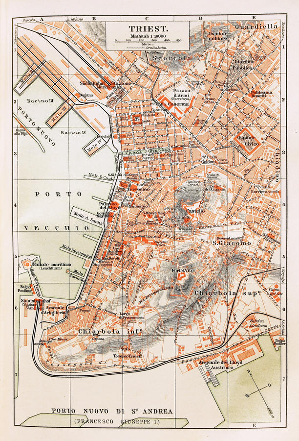 карта старый trieste стоковые изображения