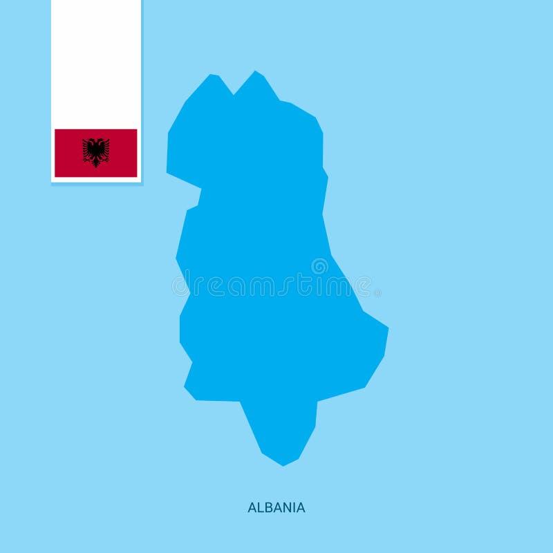 Карта страны Албании с флагом над голубой предпосылкой бесплатная иллюстрация