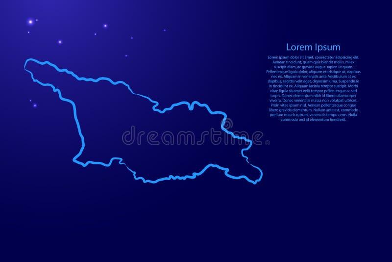 Карта страны Грузии с контурной синей кистью линии разные толщиной и светящиеся звезды на темном фоне Вектор бесплатная иллюстрация