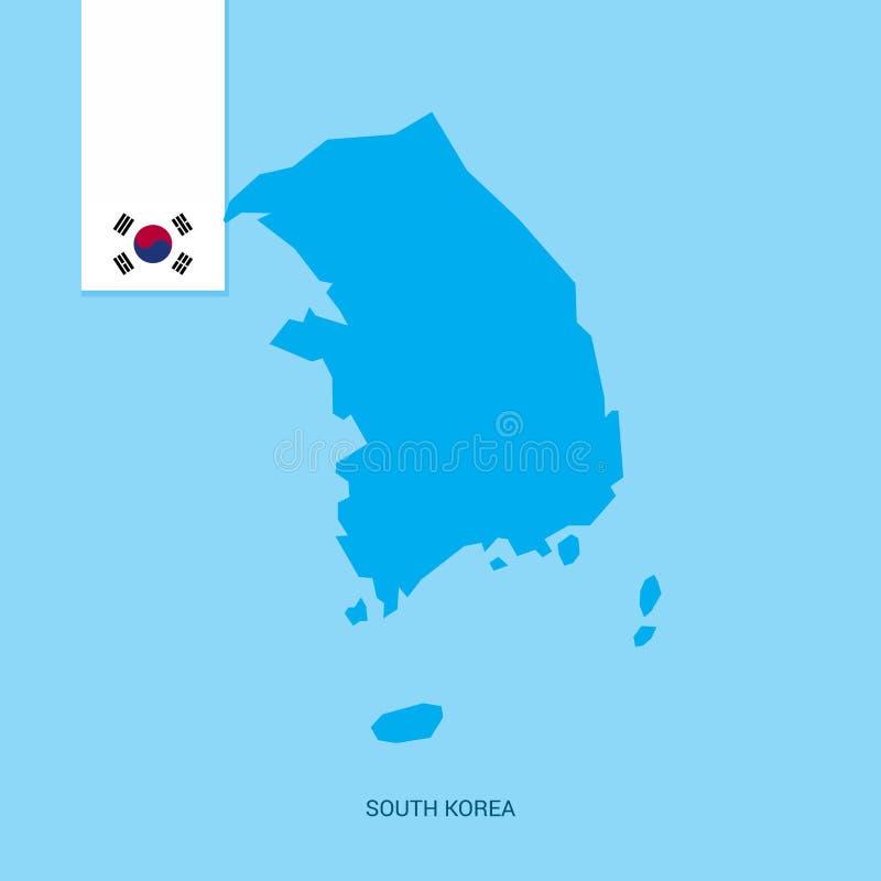 Карта страны Кореи южная с флагом над голубой предпосылкой иллюстрация вектора