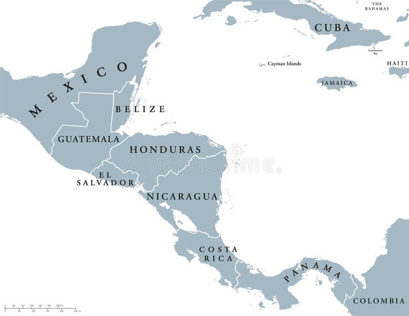 Карта стран Центральной Америки политическая бесплатная иллюстрация