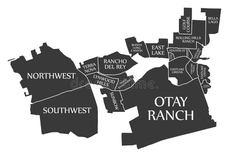 Карта США города Chula Vista Калифорнии обозначила черную иллюстрацию иллюстрация штока