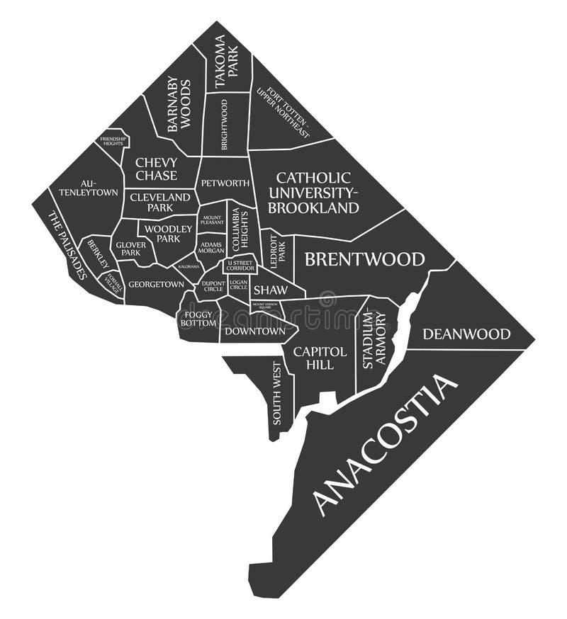 Карта США города DC Вашингтона обозначила черную иллюстрацию иллюстрация штока