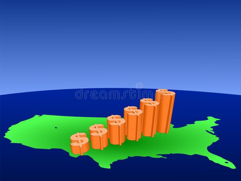 Download карта США диаграммы доллара Иллюстрация вектора - иллюстрации насчитывающей аналитика, символ: 6861648