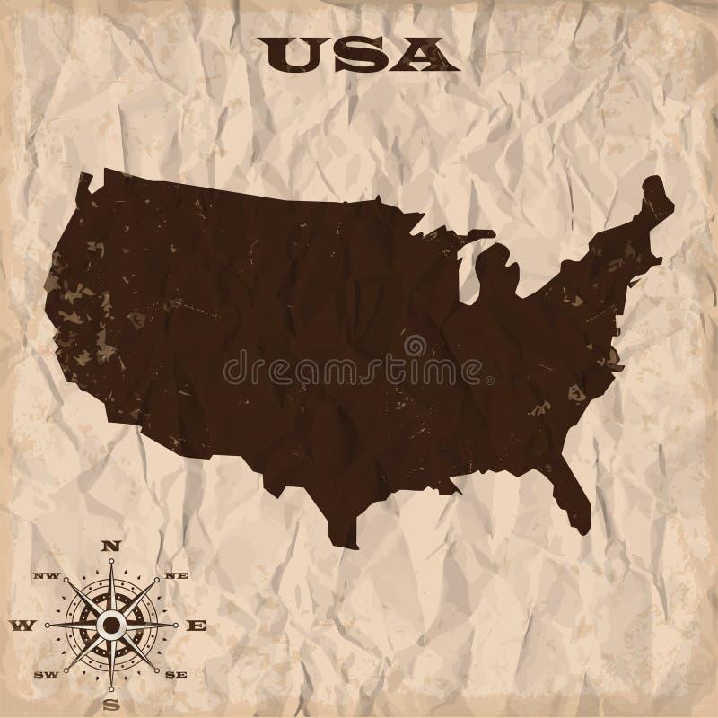 Карта США старая с grunge и скомканной бумагой также вектор иллюстрации притяжки corel иллюстрация штока
