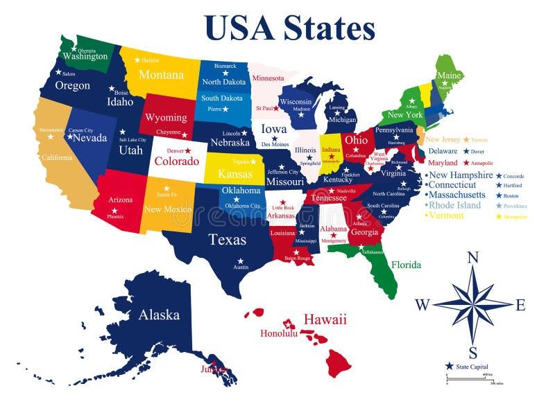 Карта США с положениями и столицами иллюстрация вектора