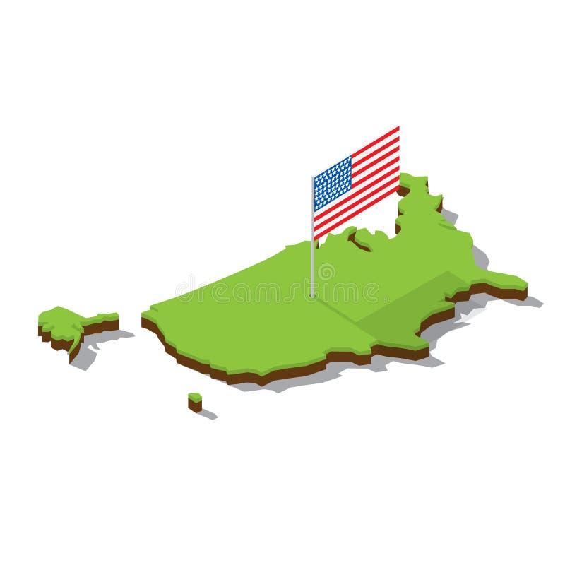 Карта США с флагом равновеликим стоковая фотография