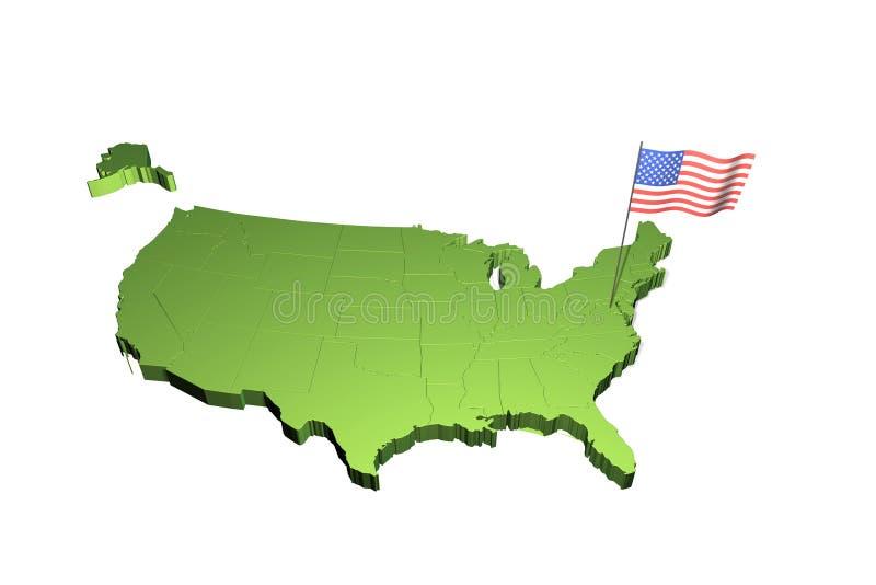 карта США флага иллюстрация вектора