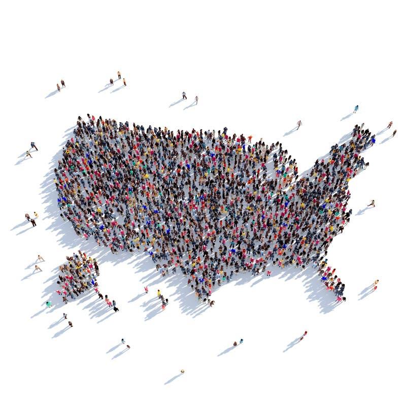 Карта США формы группы людей стоковые изображения