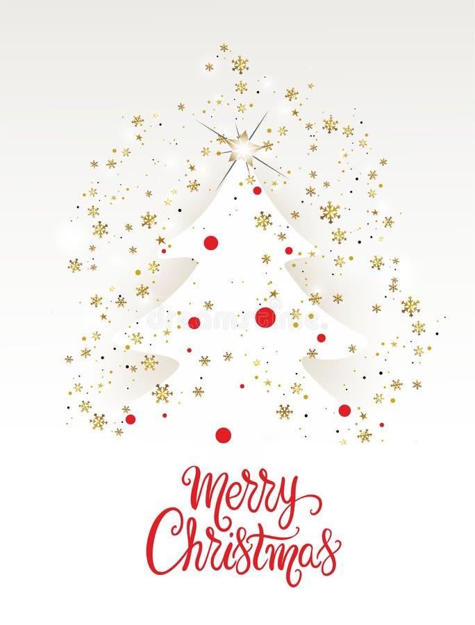 Карта с золотыми снежинками - вектор рождественской елки иллюстрация вектора