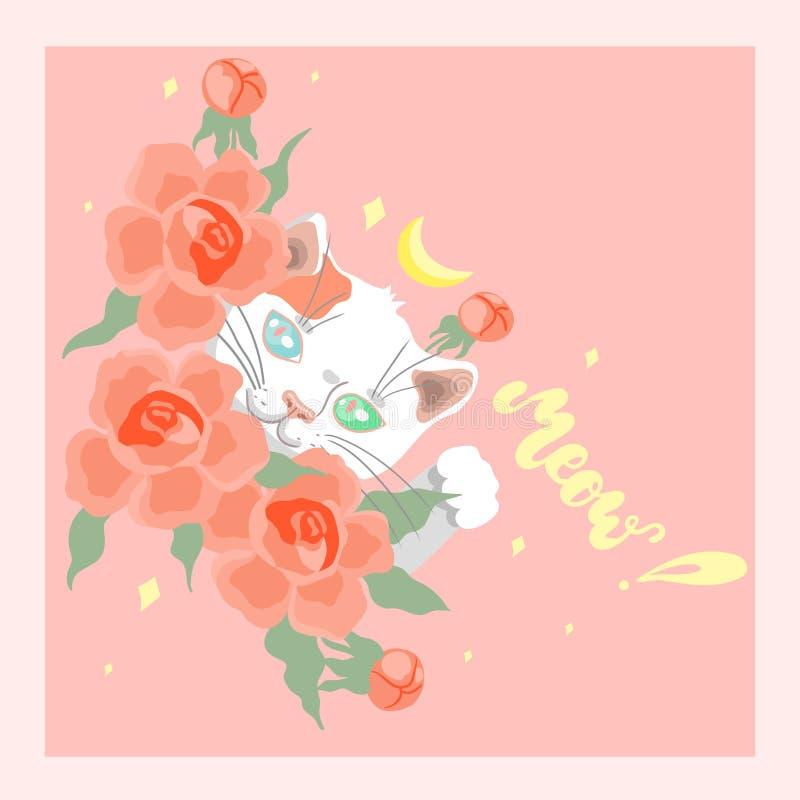 Карта с милым белым котом среди изображения вектора цветков иллюстрация вектора