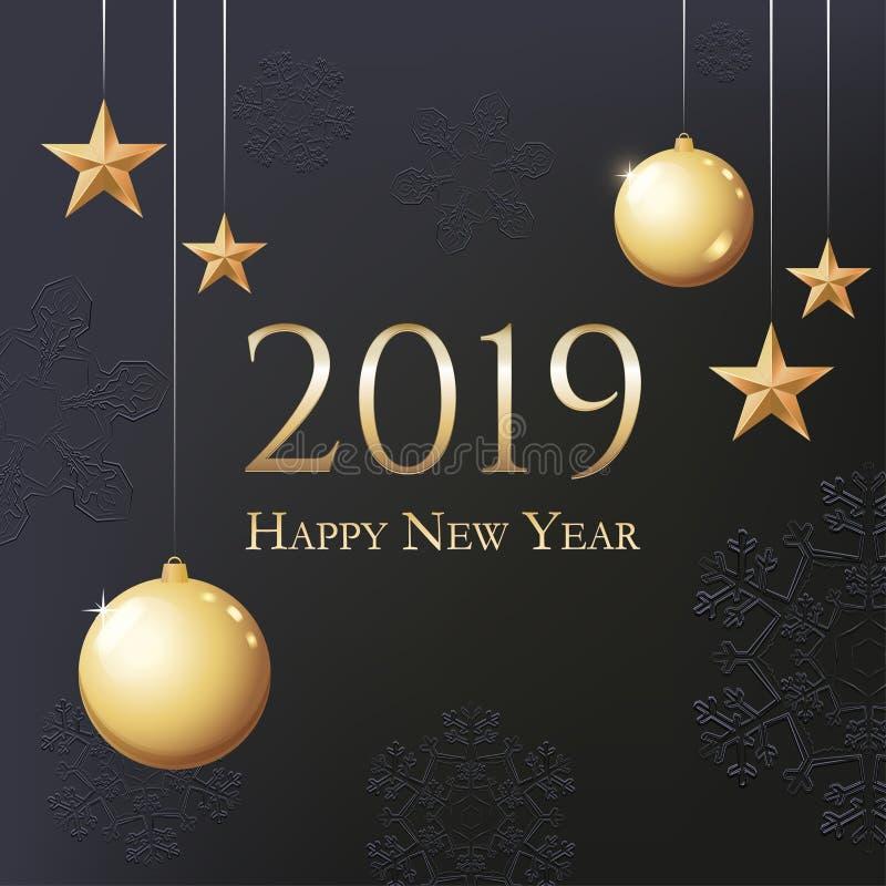 Карта с приветствием - 2019 С Новым Годом! Иллюстрация с шариками, светом, snowflackes, звездами и местом рождества золота для те иллюстрация вектора