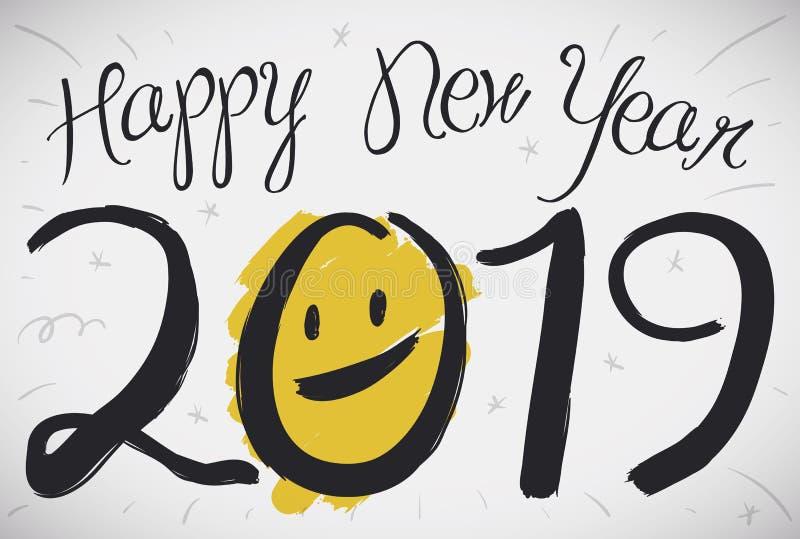 Карта с улыбкой в стиле Brushstroke на 2019 Новых Годов, иллюстрация вектора иллюстрация вектора