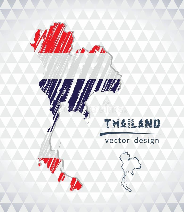 Карта Таиланда с нарисованной рукой картой ручки эскиза внутрь также вектор иллюстрации притяжки corel иллюстрация штока