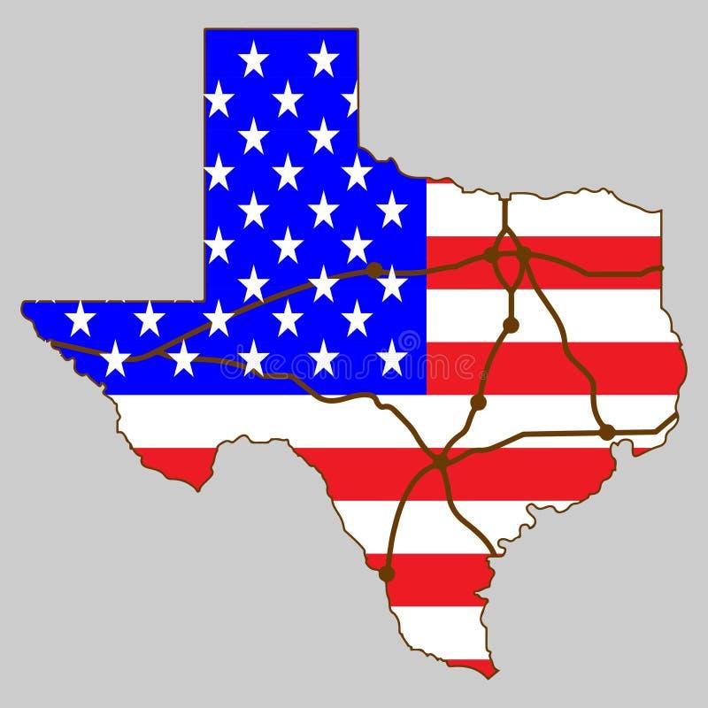 Карта Техаса на векторе логотипа флага США иллюстрация штока