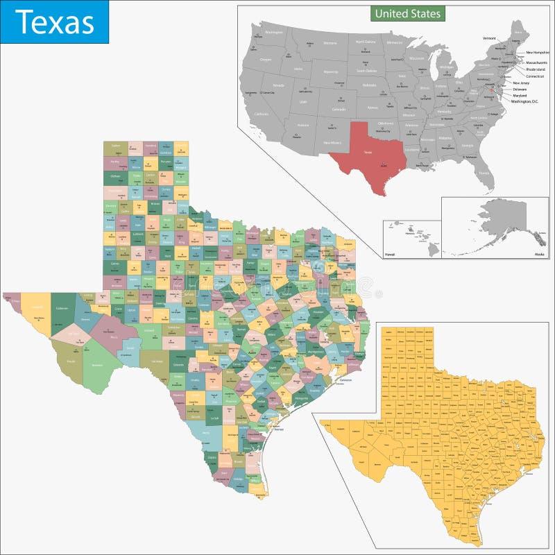 Карта Техаса иллюстрация вектора