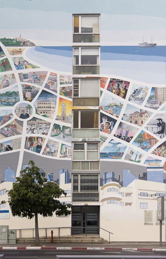 Карта Тель-Авив на фасаде стоковые изображения