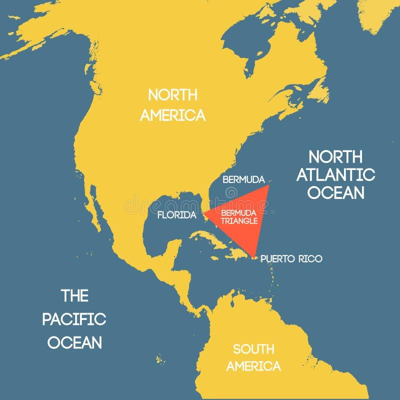 Карта треугольника Бермудских Островов иллюстрация штока