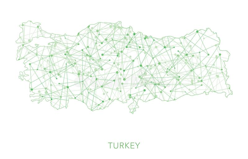 Карта Турции, зеленеет поставленную точки сетчатую предпосылку вектора бесплатная иллюстрация