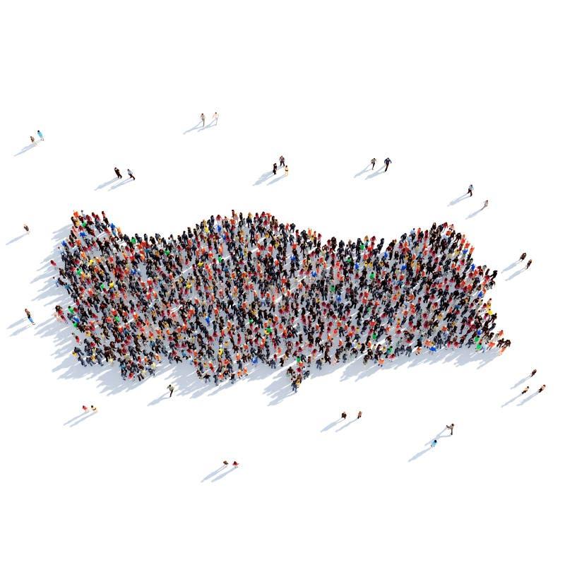 Карта Турция формы группы людей стоковое фото