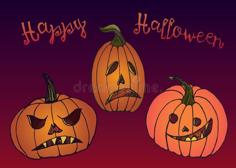 Карта тыкв хеллоуина с приветствием, эскизом doodle руки вычерченным в стиле искусства попа, дизайне карты цвета бесплатная иллюстрация