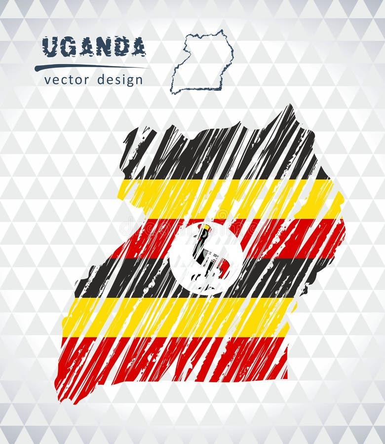 Карта Уганды с нарисованной рукой картой ручки эскиза внутрь также вектор иллюстрации притяжки corel иллюстрация вектора
