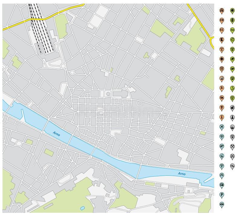 Карта улицы городского Флоренс с указателями штыря и значками инфраструктуры бесплатная иллюстрация