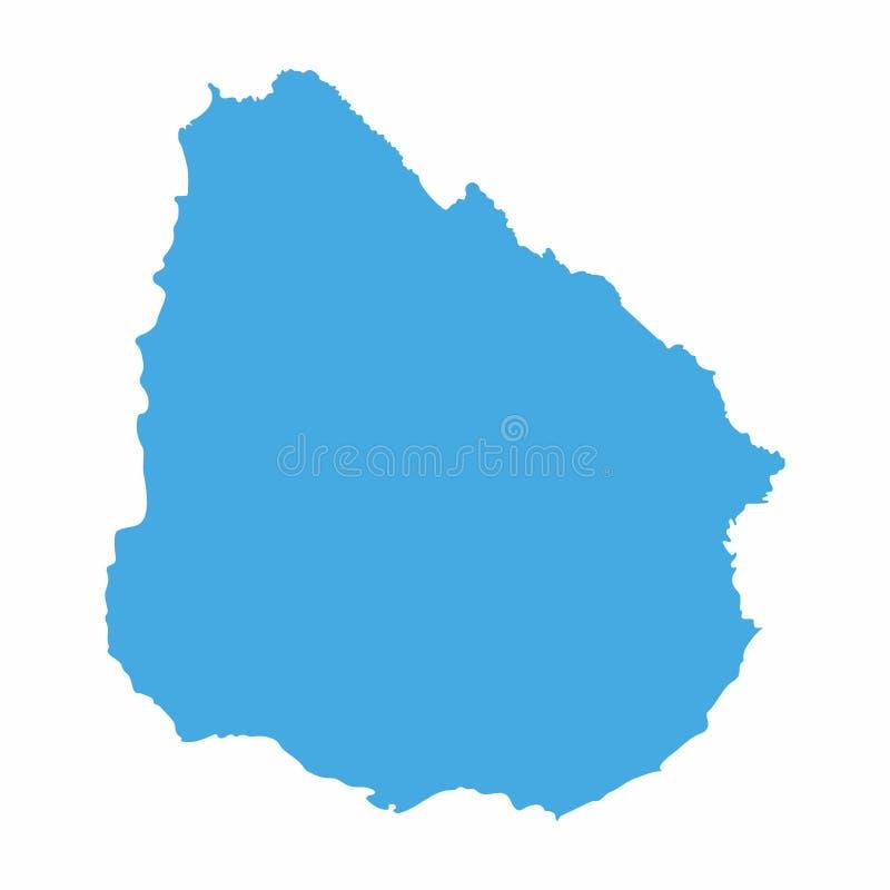 Карта Уругвая на голубой предпосылке, иллюстрации вектора бесплатная иллюстрация