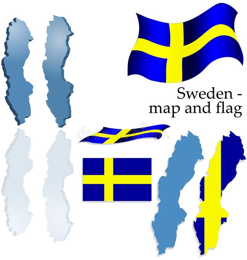 карта установленная Швеция флага стоковые фотографии rf