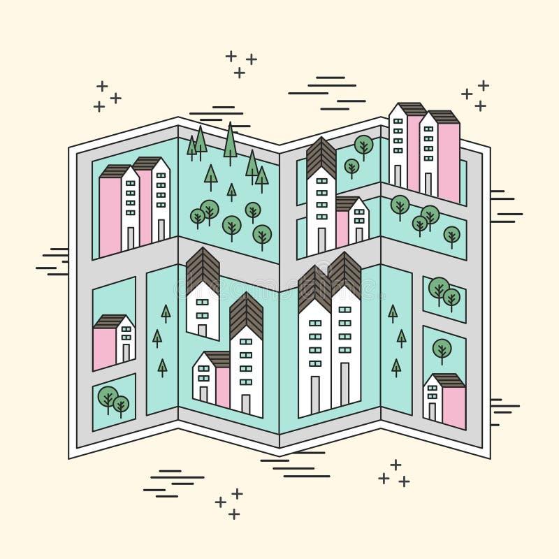 Карта улицы маленького города иллюстрация вектора