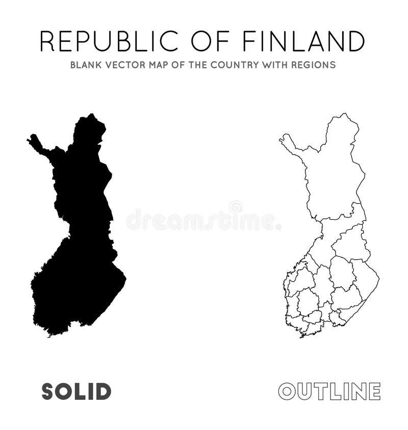 Карта Финляндии иллюстрация вектора