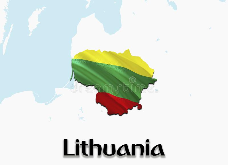 Карта флага Литвы 3D представляя карту и флаг Литвы Национальный символ Литвы Национальный развевая флаг красочный бесплатная иллюстрация