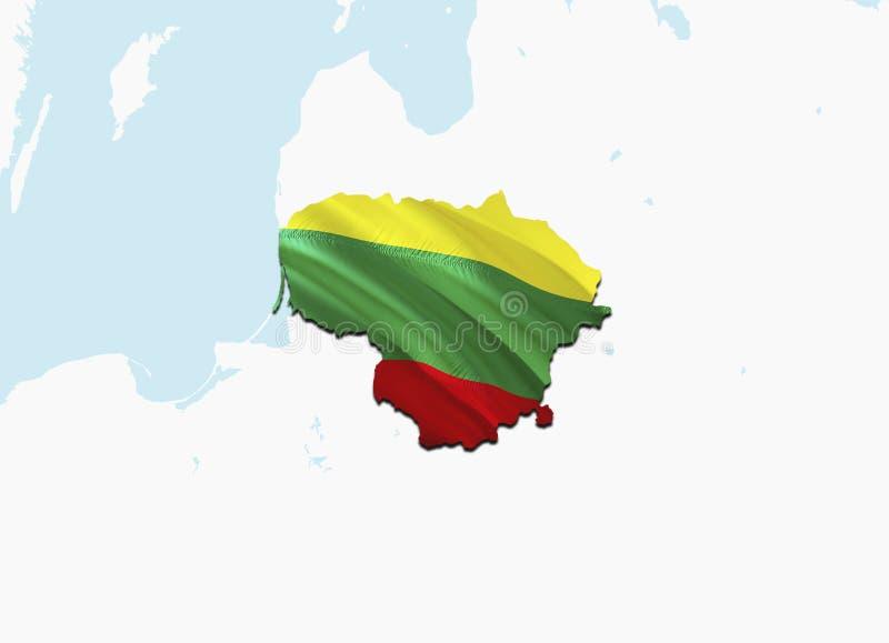 Карта флага Литвы 3D представляя карту и флаг Литвы Национальный символ Литвы Национальный развевая флаг красочный иллюстрация вектора