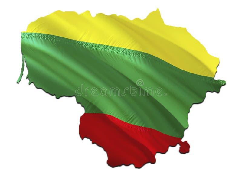 Карта флага Литвы 3D представляя карту и флаг Литвы Национальный символ Литвы Национальный развевая флаг красочный иллюстрация штока