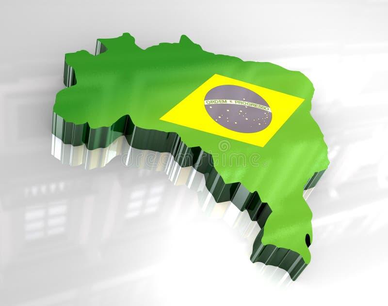 карта флага 3d Бразилии иллюстрация вектора