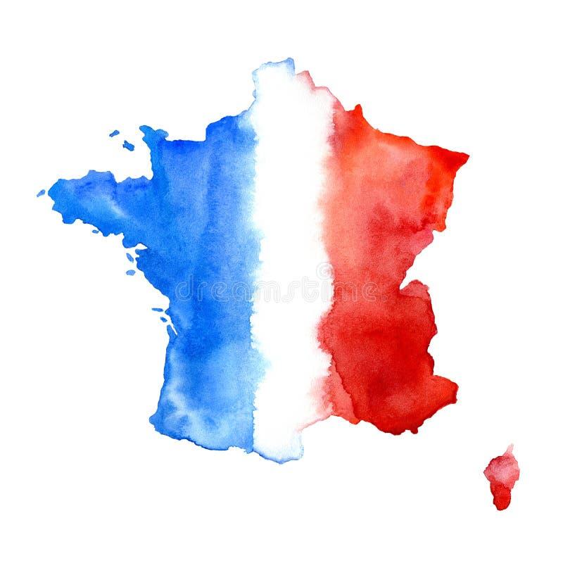 карта Франции абстрактный флаг иллюстрация штока
