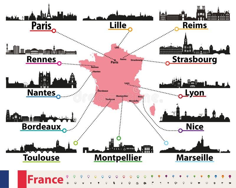 Карта Франции с комплектом вектора силуэтов горизонтов самых больших городов иллюстрация вектора