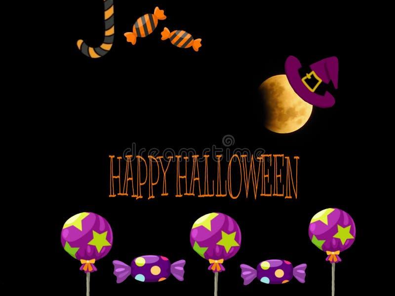 Карта хеллоуина с пурпурными конфетами и полнолунием стоковая фотография rf