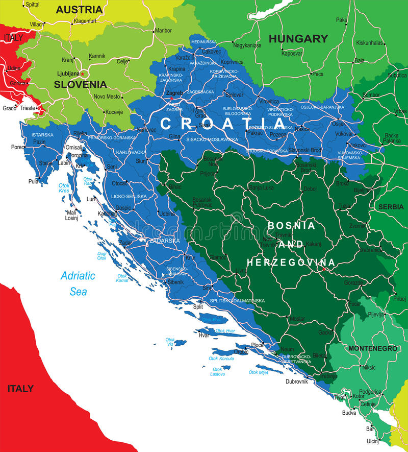 Карта Хорватии иллюстрация штока