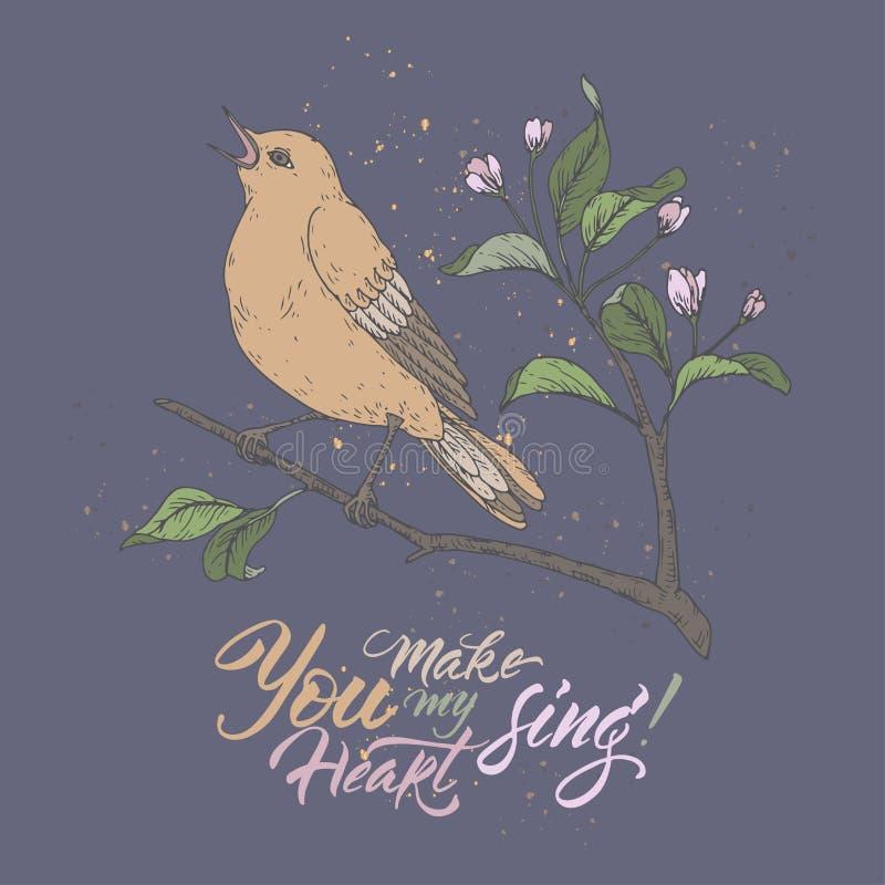 Карта цвета Валентайн романтичная с птицей петь на литерности сини и щетки saing вы для того чтобы сделать мое сердце спеть иллюстрация вектора