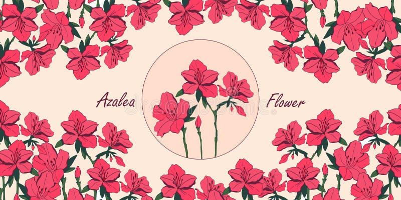 Карта цветка азалии с местом для текста иллюстрация штока