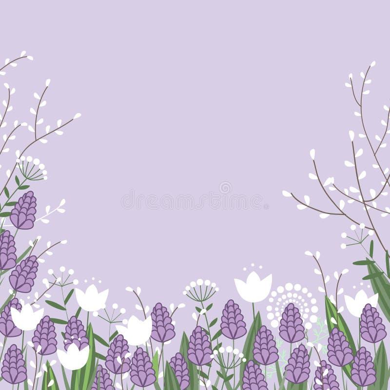 Карта цветков весны красочная Ветви вербы, гиацинты и цветки тюльпана установьте текст бесплатная иллюстрация