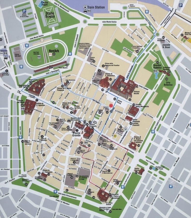 Карта центра города Моденаа, Италия стоковые фото