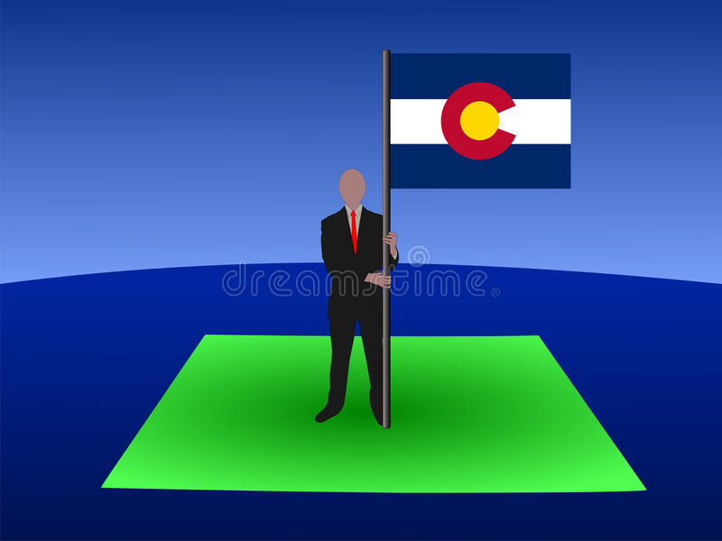 карта человека флага colorado иллюстрация штока