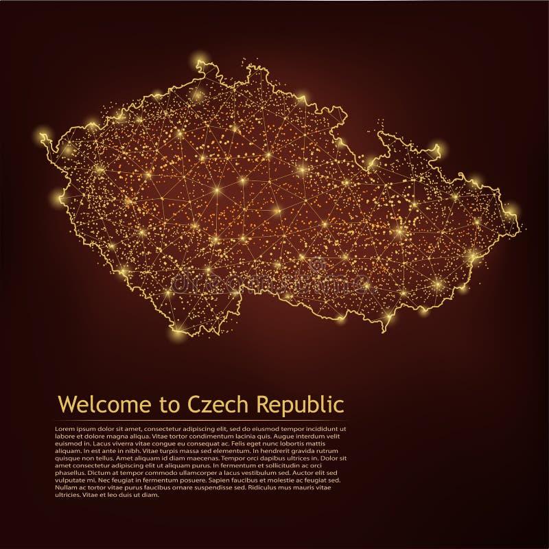 Карта чеха Repablic Абстрактные линия и балльные шкалы месива на темной геометрической предпосылке Рамка 3D провода цепляет полиг иллюстрация штока