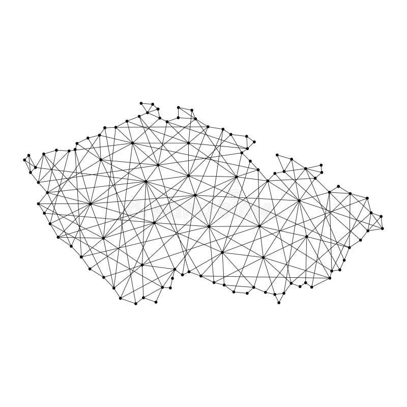 Карта чехии от полигональных черных линий, точек иллюстрации иллюстрация вектора