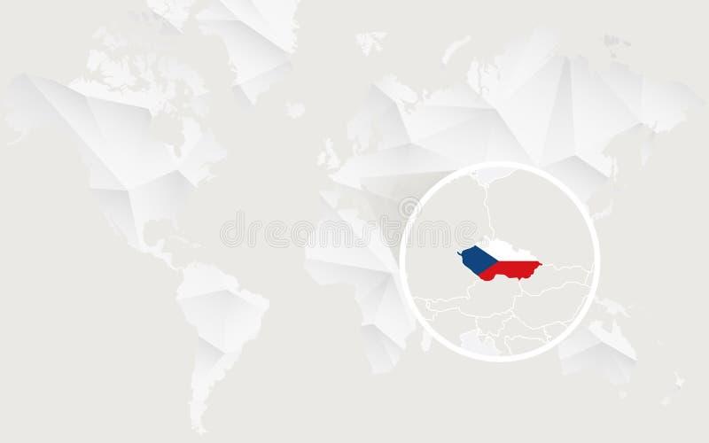 Карта чехии с флагом в контуре на белой полигональной карте мира иллюстрация вектора