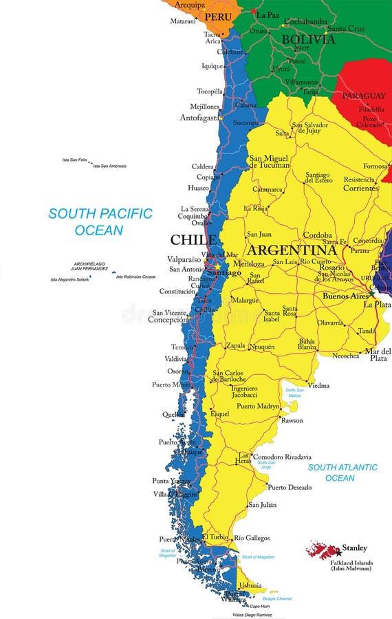 Карта Чили иллюстрация вектора